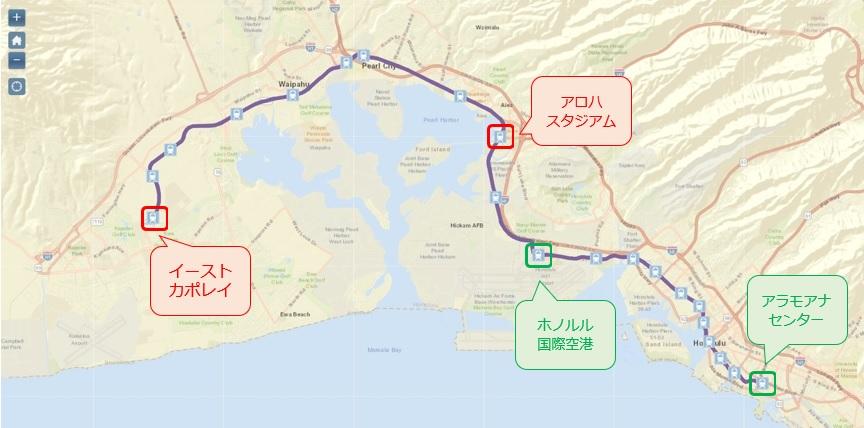ホノルル・レール・トランジットのルートマップ